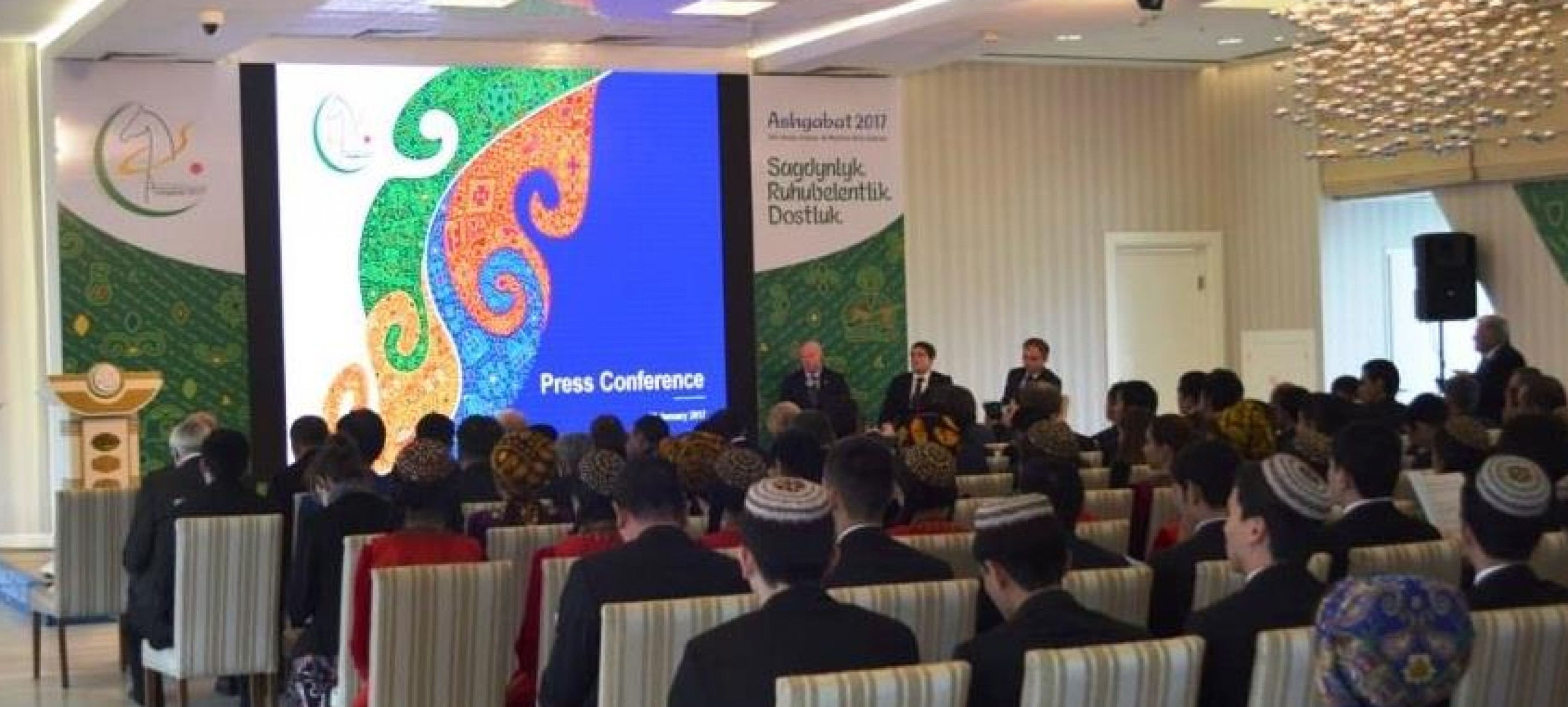 A PRESS CONFERENCE DEDICATED TO THE V ASIAN GAMES INDOORS AND MARTIAL ARTS HELD IN THE OLYMPIC VILLAGE IN ASHGABAT
